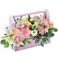 Prefabricated flower arrangement in a wooden box