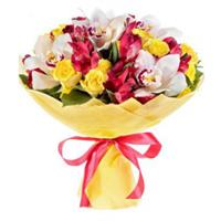 Wonderful bouquet of  orchids, alstroemeria, roses.