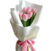 Bouquet of 9 pink tulips