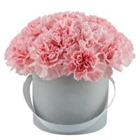 Bouquet of 15 pink carnations in a hat box