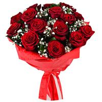 Bouquet of 15 red roses and gypsophila
