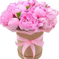 Box with 11 pink peonies