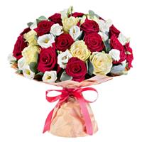 Wonderful bouquet of roses and eustomas