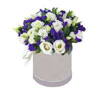 Box with eustoma and statice