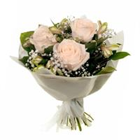 Lovely bouquet of roses, alstroemerias and gypsophilas