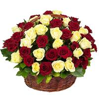 51 red and white rose in the basket