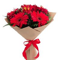 Bouquet of red gerberas and alstroemerias