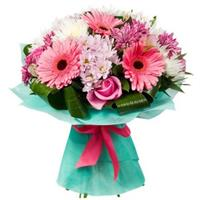 Bouquet of gerberas, chrysanthemums and roses