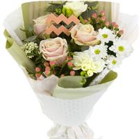 Bouquet of roses, chrysanthemums and freesias