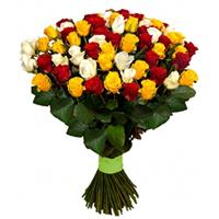 A beautiful bouquet of 65 red, yellow and white roses