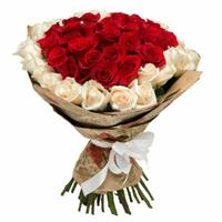 Heart-bouquet with 51 imported roses