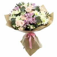 Delicate bouquet of spray roses and alstromeria