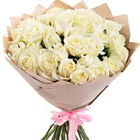 Tender bouquet of 25 White Roses