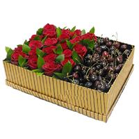 Box with roses and cherry