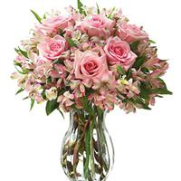 Wonderful bouquet of pink alstroemerias and roses