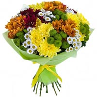 Bouquet of colored chrysanthemums