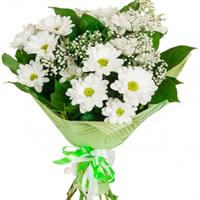 Bouquet of chrysanthemums with hypericum