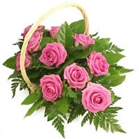 Basket of pink roses Aqua