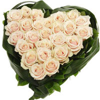 25 cream roses in the shape of heart