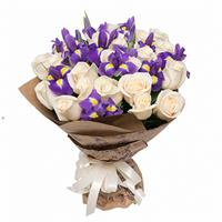 White roses and purple irises