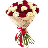 Bouquet of 33 red  and cream roses