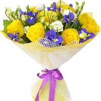 Bouquet of roses and blue irises