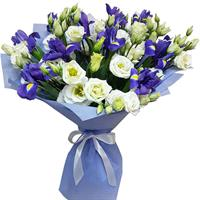 Bouquet of white tulips and blue irises