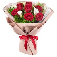 Bouquet of 13 red roses and 6 callas