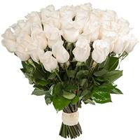 A bouquet of 51 white imported roses