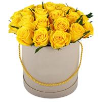 19 yellow roses in a box