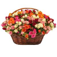 Basket with  bush roses