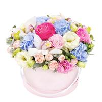 Box of eustoma, hydrangea, orchid and pion-shaped rose