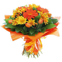 Bouquet of orange gerberas, red tulips and yellow chrysanthemum