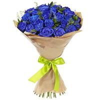 Bouquet of 25 blue roses
