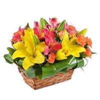 Basket with lilies