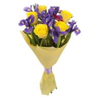 Bouquet of yellow roses and purple irises