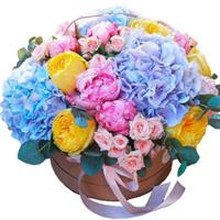 Exquisite box of pion-shaped roses, hydrangeas and bush roses