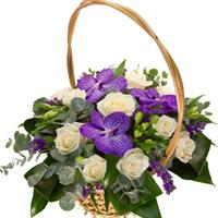 Basket with orchids and Eustoma