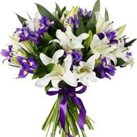 Bouquet of roses, lilies, irises and orchids