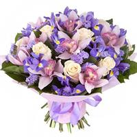 Bouquet of orchids, irises, roses