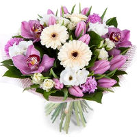 Bouquet of roses, orchids, tulips and eustomy