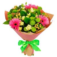 Bouquet of chrysanthemums, gerberas and pink roses