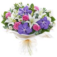 Bouquet of roses, orchids Vanda