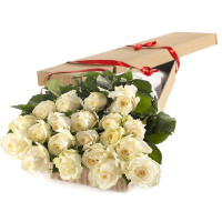 White roses in a box