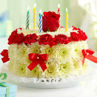 Cake of chrysanthemums and  carnations