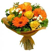 Bouquet of roses, gerberas, lilies and chrysanthemums