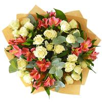Bright bouquet of alstroemeria and bush roses