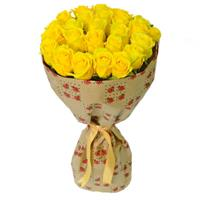 Bouquet of 21 yellow roses