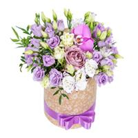 Box with eustoma, orchid and roses