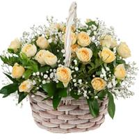 The composition consists of a yellow rose, shrub chrysanthemum, freesia